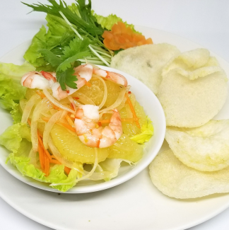Shrimp and pork raw grapefruit salad