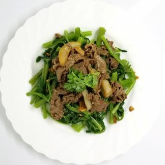 空芯菜牛肉炒め