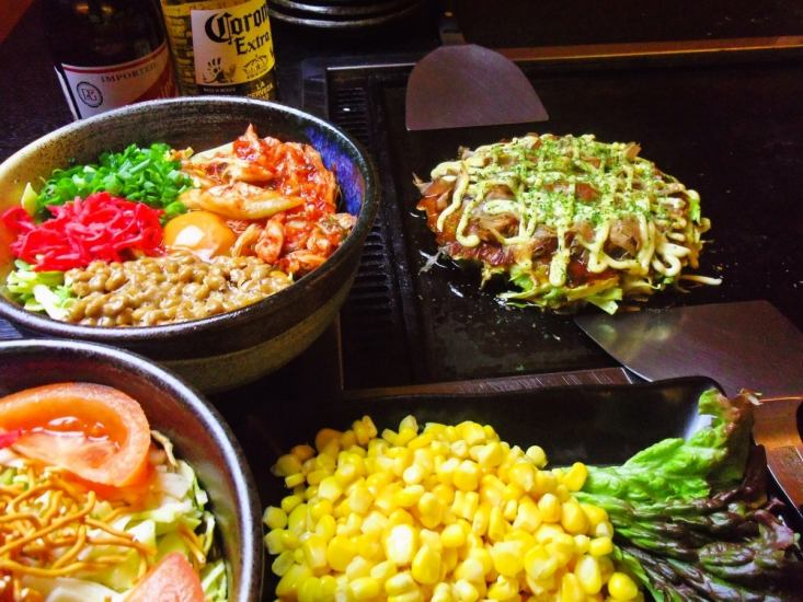 Okonomiyaki and Monjyaki menu are various.All-you-can-eat all-you-can-drink 2 hours!