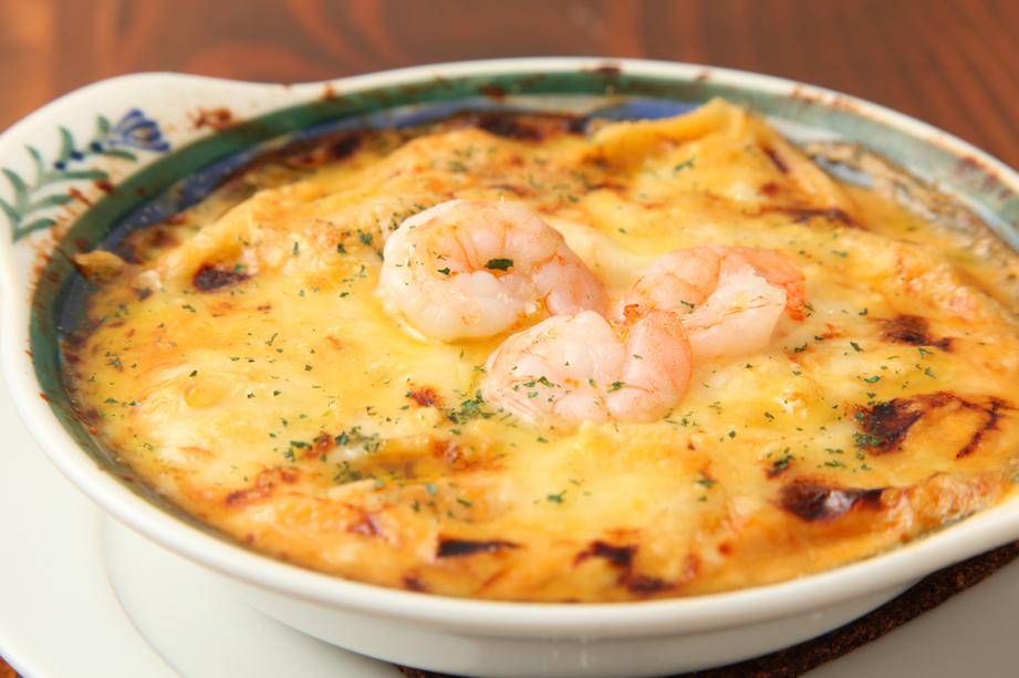 Shrimp miso cheese gratin