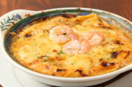 海老味噌チーズグラタン
