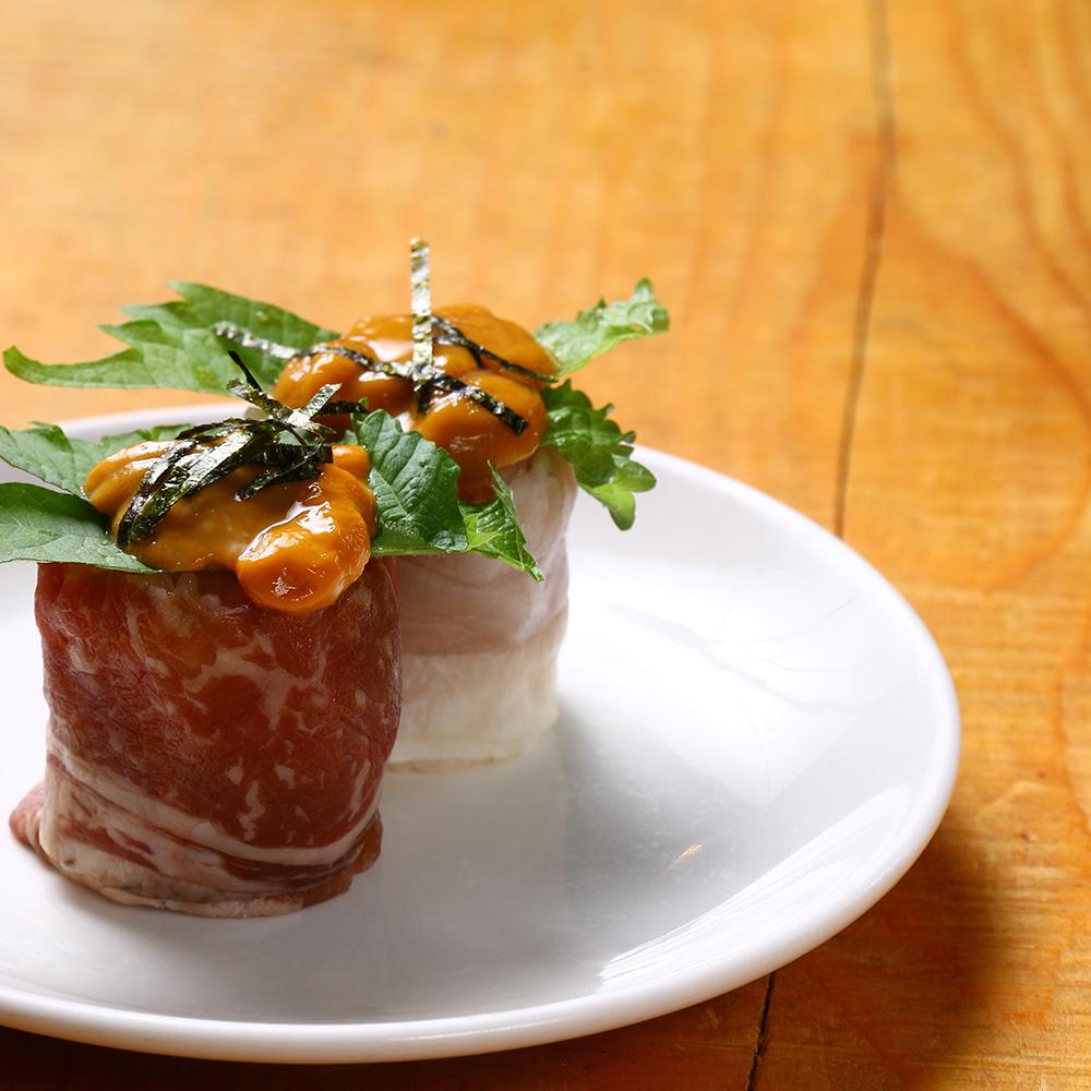 【肉类寿司】十胜制作牛腰肉和未煮熟的肉寿司