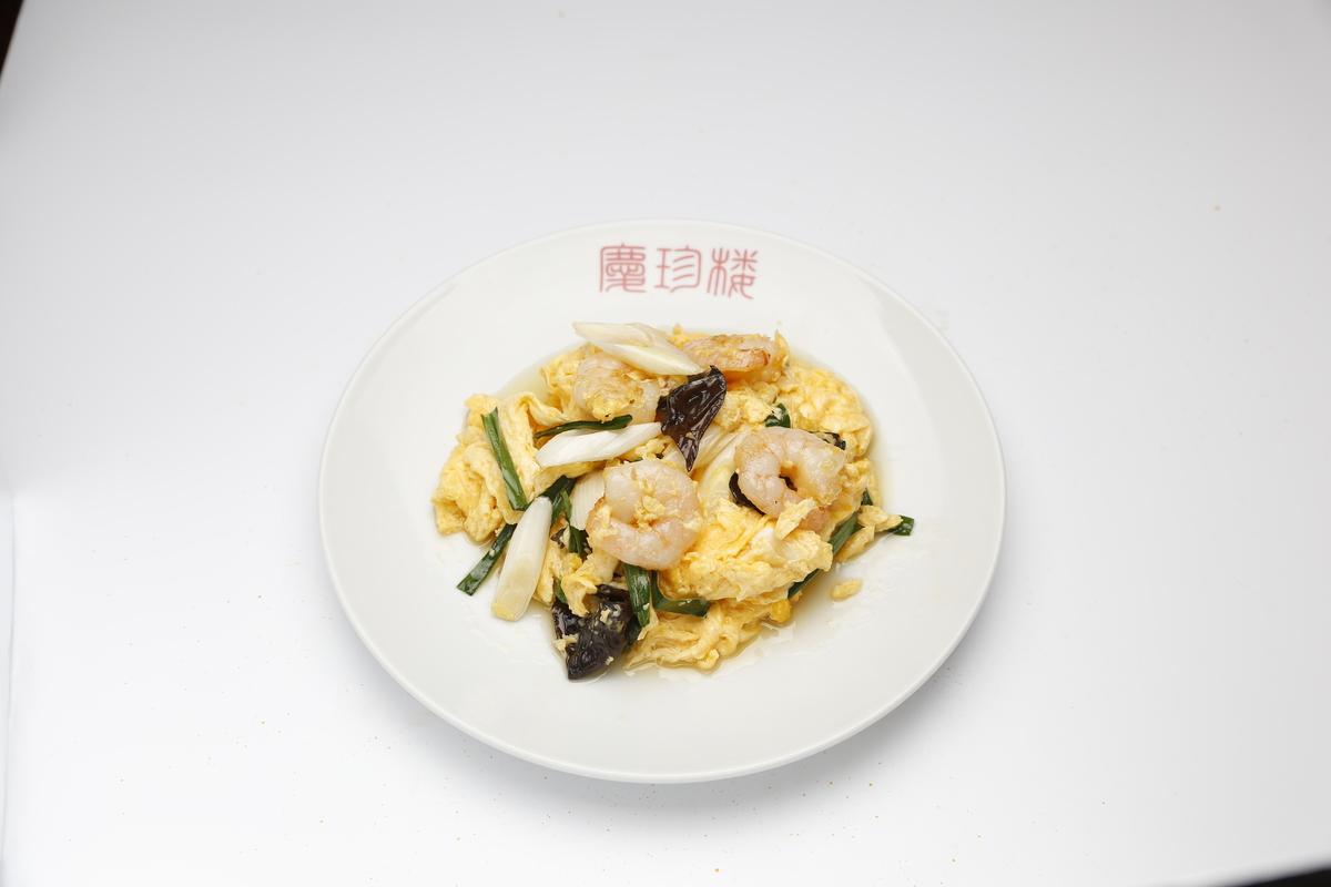 Stir-fried shrimp with egg