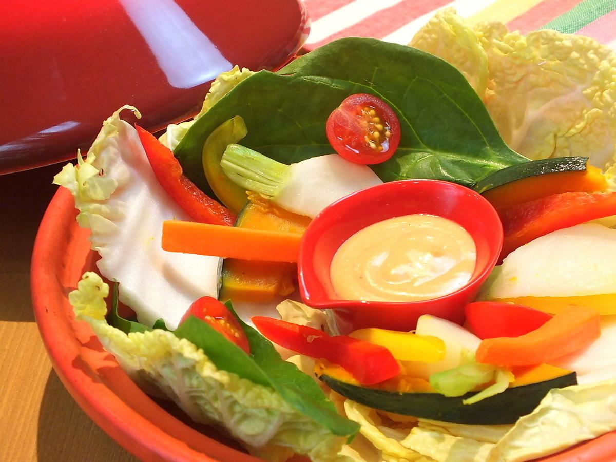 タジンスチームの温かい蒸し野菜サラダ 磯の香りのバーニャカウダソース