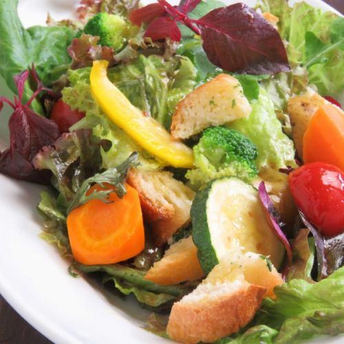 ゴロゴロ野菜とガーリックトーストのサラダ