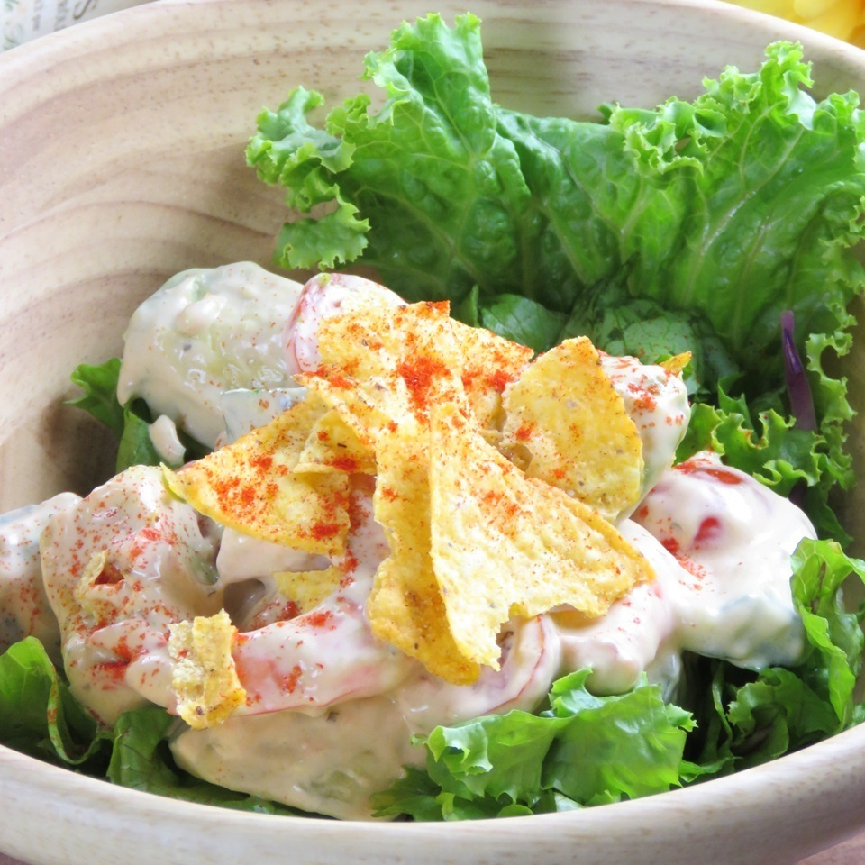 Shrimp and avocado salad Japanese style or salsa dressing
