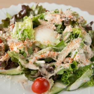 Chicken and hot spring egg Caesar salad steamed
