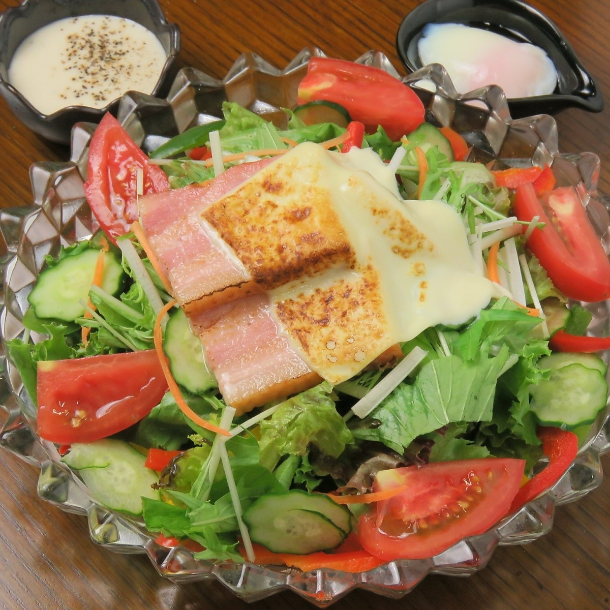 Broiled cheese and bacon & warm bean caesar salad