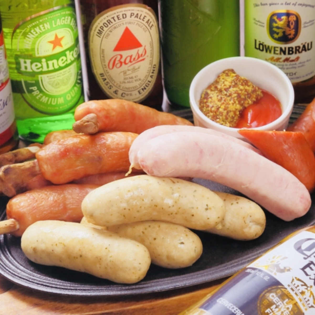 Assortment of various sausages