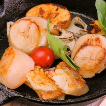 Grilled scallop with scallop and lotus root