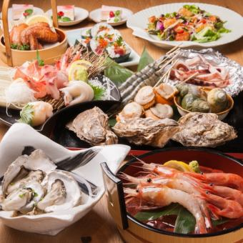Saturated seafood course (8 seafood dishes ● regular 5,200 yen ⇒ coupon and 4,700 yen including tax)