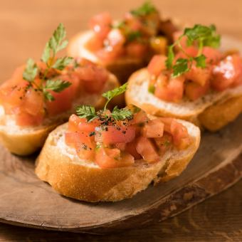 Bruschetta of ripe tomato