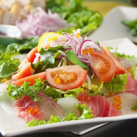 A variety of seafood salads