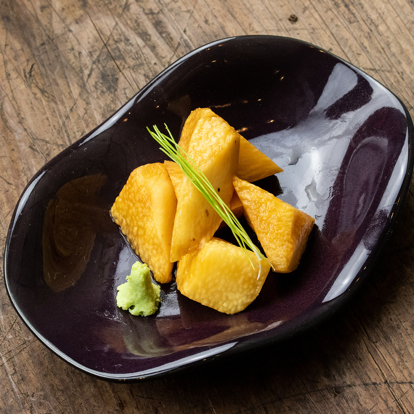 Yam with soy sauce pickled
