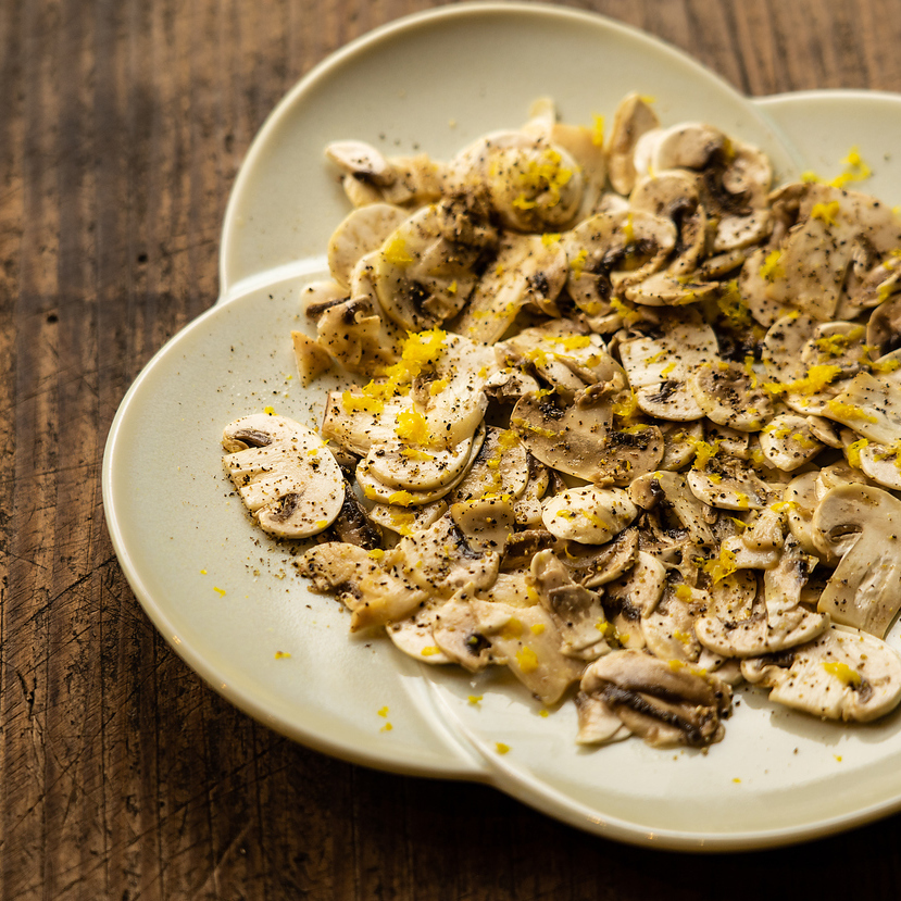 Mushroom only salad with delicious olive oil and salt.