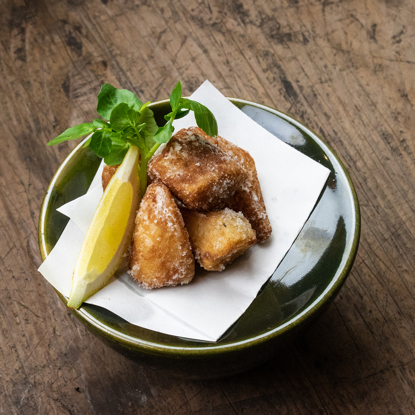 Deep-fried soy sauce pickled yam with Tatsuta