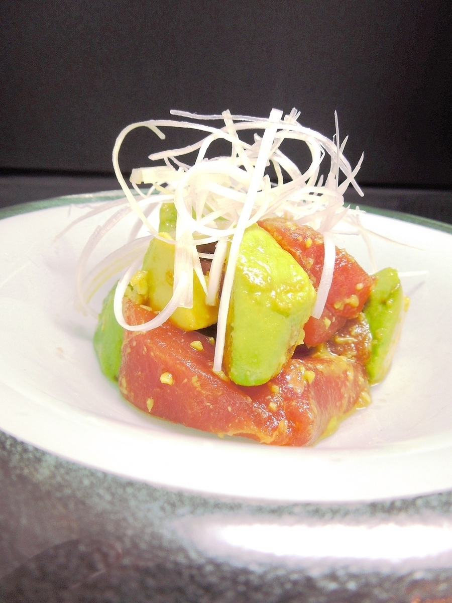 Tossed tuna and avocado with wasabi