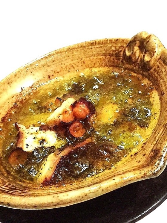 Boiled octopus with mushrooms