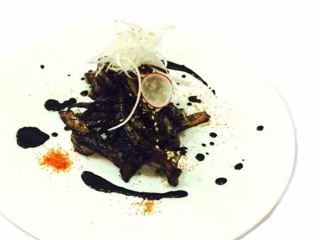 Fried squid ink butter
