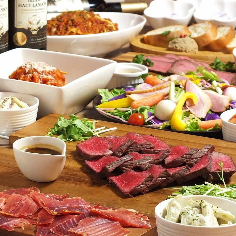 流行的肉类包装的5000日元套餐带酒水畅饮2.5小时!