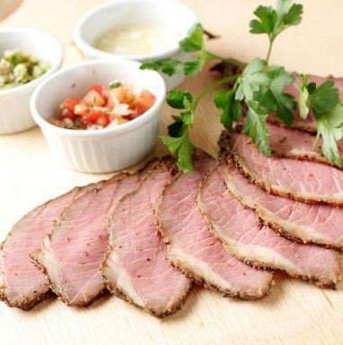 Roast beef with 3 kinds of salsa sauce ~