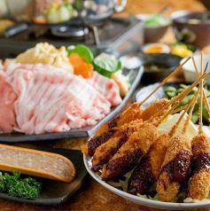 """Pork shabu-shabu course with grilled skewers: all-you-can-eat """"Awa pork"""", brand pork from Tokushima prefecture, plus 2 hours all-you-can-drink!"""