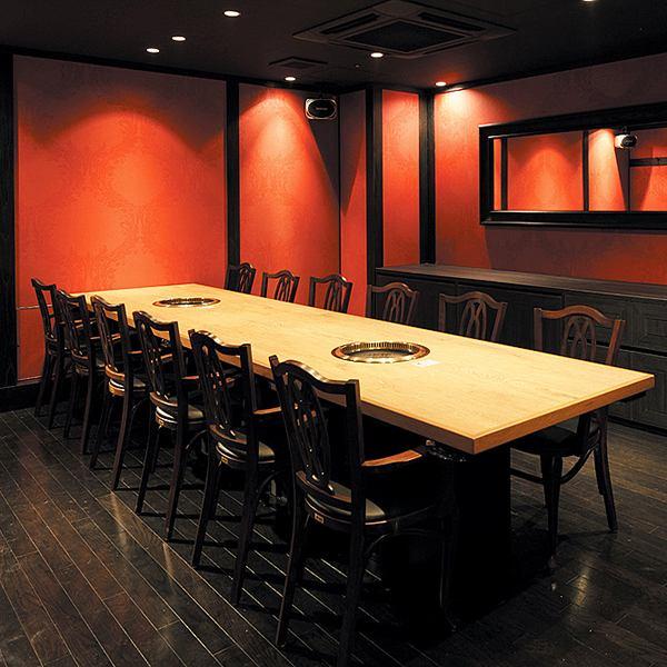 個室と焼肉個別盛により、接待や会合など大切な食事に最適。