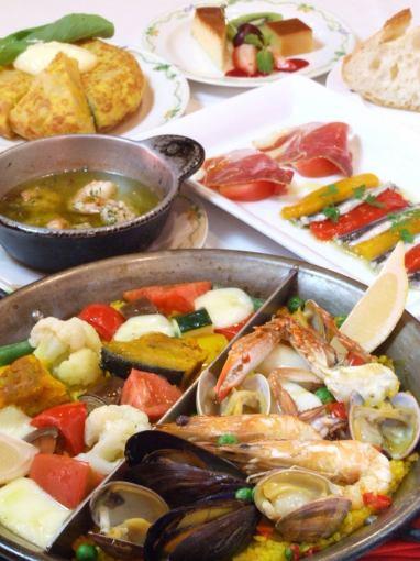 海鮮飯晚餐套餐7道菜3200日元