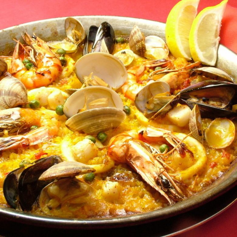 Paella of full of happiness of the sea