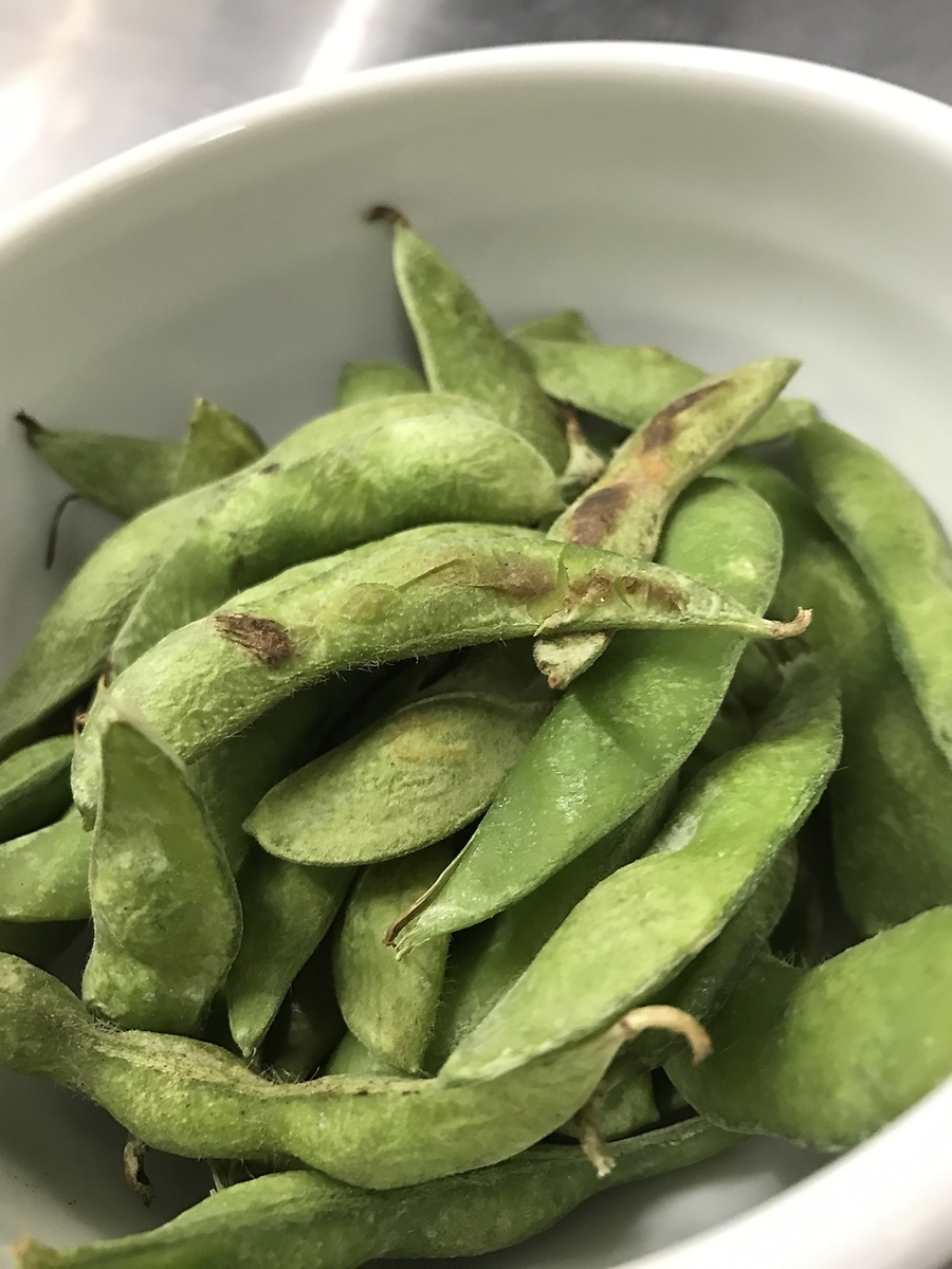 Edamame roasted with charcoal