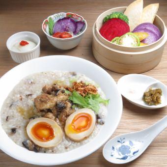 【ランチセット】全4品 選べる粥・しうまいor蒸し野菜せいろ・小鉢・ミニ杏仁豆腐 1200円