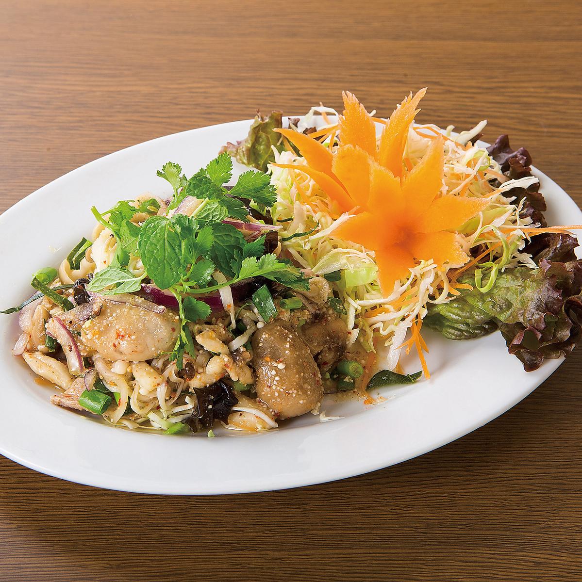 泰国蘑菇沙拉/猪肉明天剁碎玻璃莴苣包装