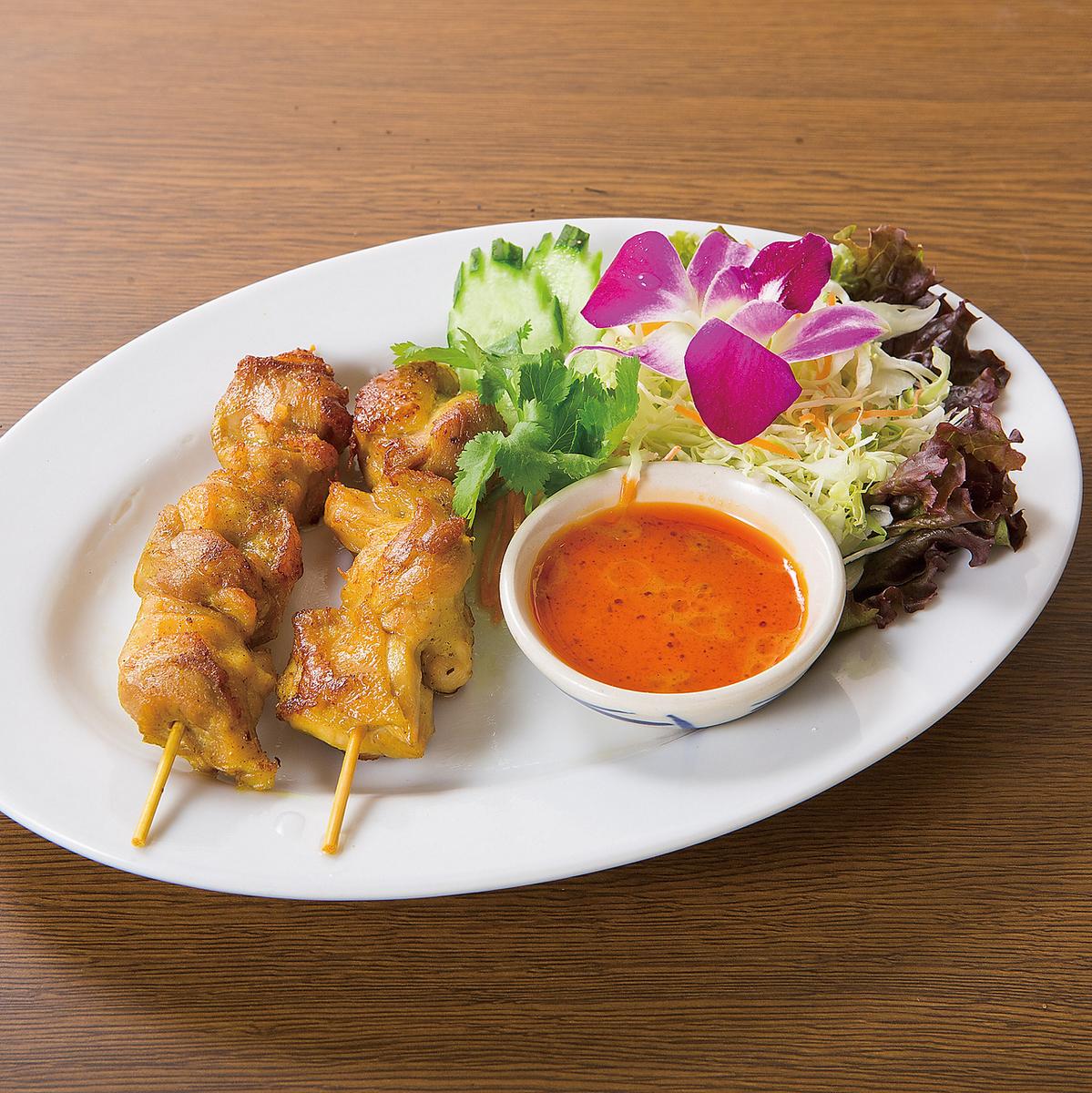 泰式烤串花生酱2猪肉(猪肉或猪肉)
