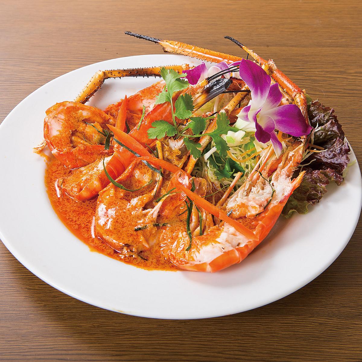 虾用红色咖喱汁