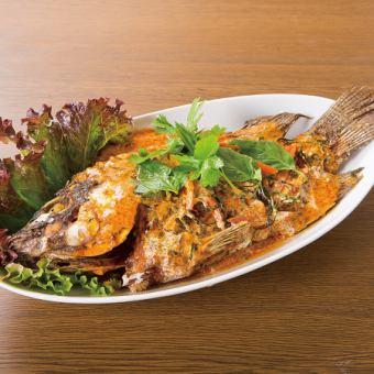 红鲷鱼红咖喱酱