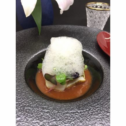 【Ocha de Pairing Course】 10 items of leave course and 6 tea pairing dinners of tea