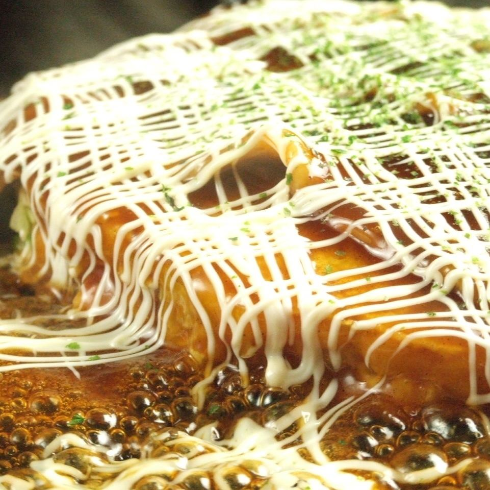 Okonomiyaki baked with iron plate is the best ★ Enjoy everything you can eat all yourself ♪