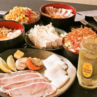 【Seafood & Meat Teppanyaki】 2 hours all you can eat & draft beer OK drink all you can-do special course! 3000 yen (tax included)