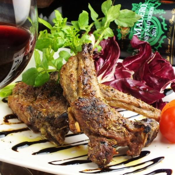 Grilled lamb chop herbs