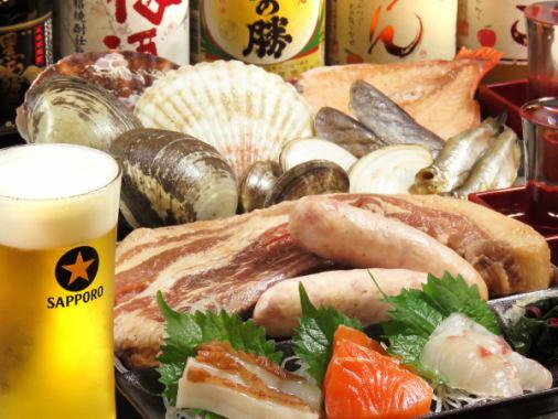 [時令食材擁擠♪]提供了大量的海鮮,肉類和蔬菜...時令的食材!