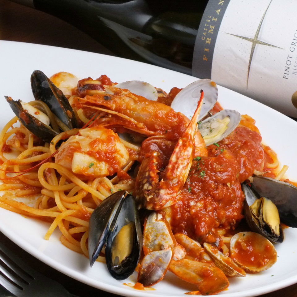 Fresh seafood tomatoes and Pescatore
