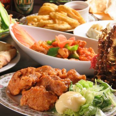 [8 명 이상 한정】 로제 스파클링 1 개 포함! 탄두리 치킨 등 요리 9 종 2 시간 음료 뷔페 포함 3000 엔