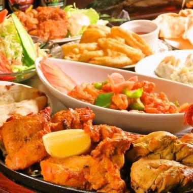 【C套餐】特别的鸡肉,14种,包括咖喱·南〜+ 2小时所有你可以喝3800日元