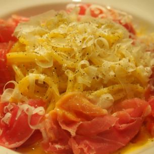 Of raw ham carbonara