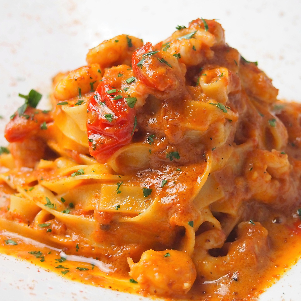 Rich thick tomato cream of sweet shrimp