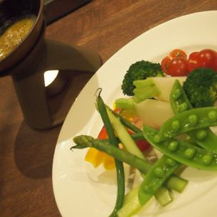 Bagna cauda over seasonal vegetables