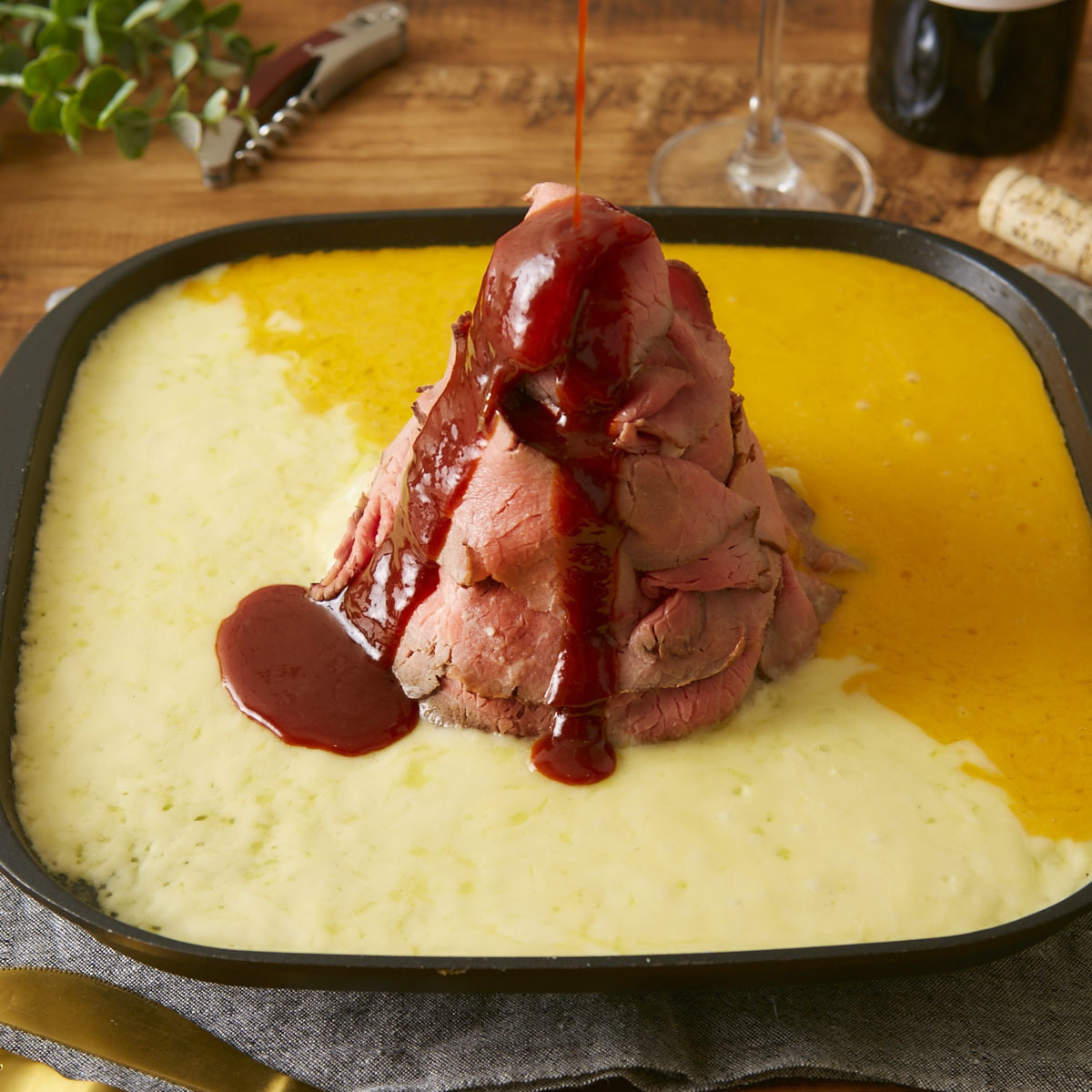 Roast beef cheese fondue