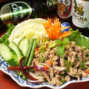 Pork minced meat and herb salted spicy salad (rap mu)