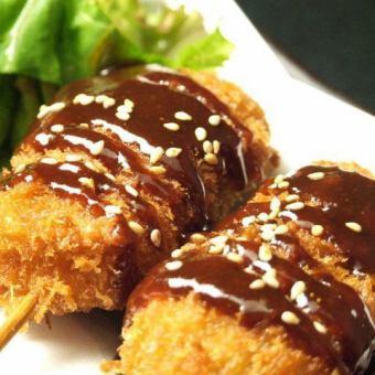 ハムカツ串揚げ 2本 ソース・味噌