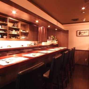 【Counter × 8 seats】 It is perfect for when you want to drink alone or if you want to enjoy a meal with relaxed people as it is a calm atmosphere.Enjoy luxurious fresh ingredients directly from the production area! Please come once.